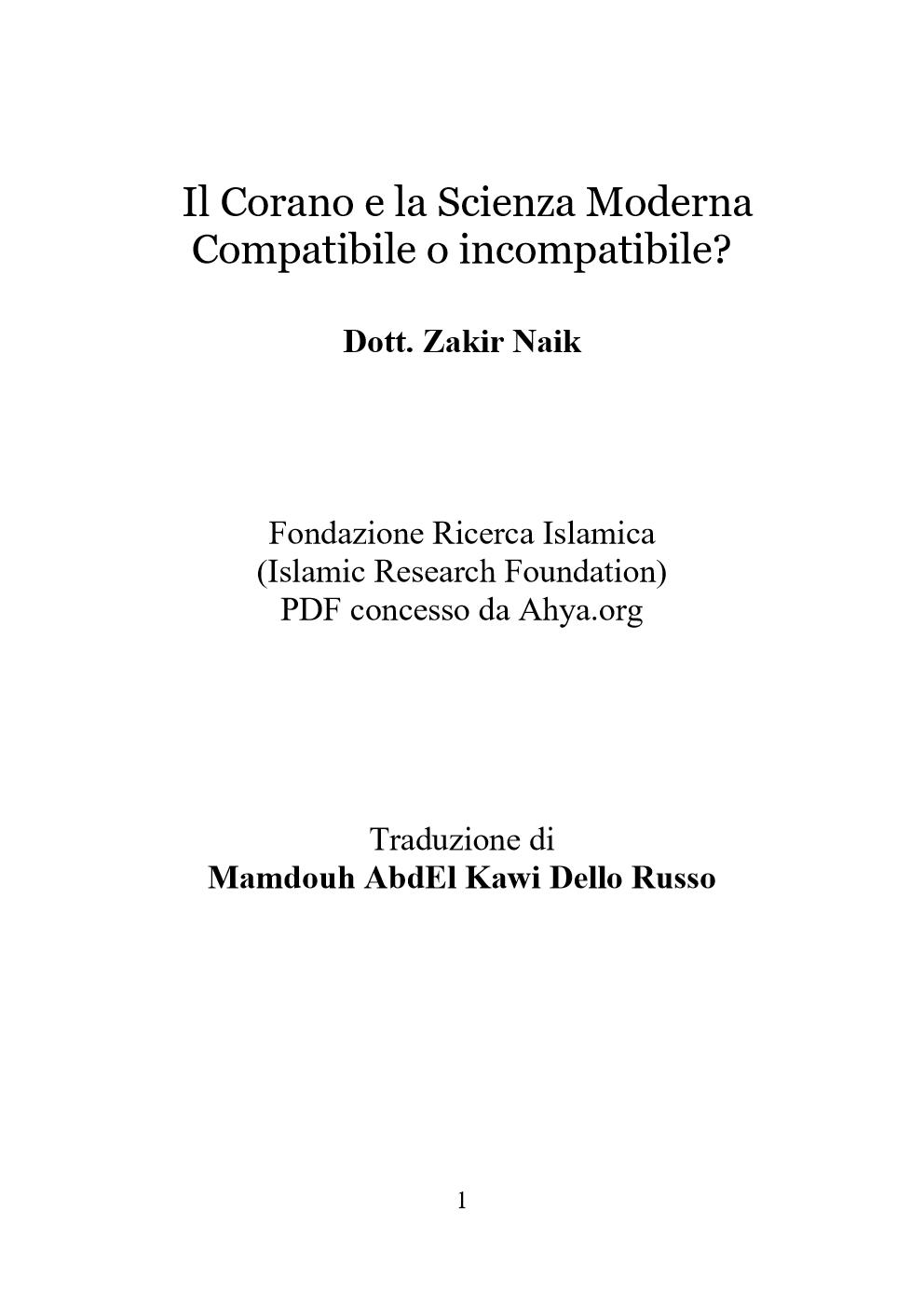 Il Corano e la Scienza Moderna Compatibile o incompatibile?