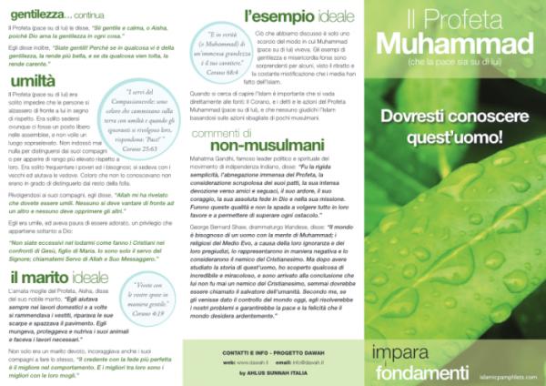 Volantino informativo Il profeta Muhammad pbsl