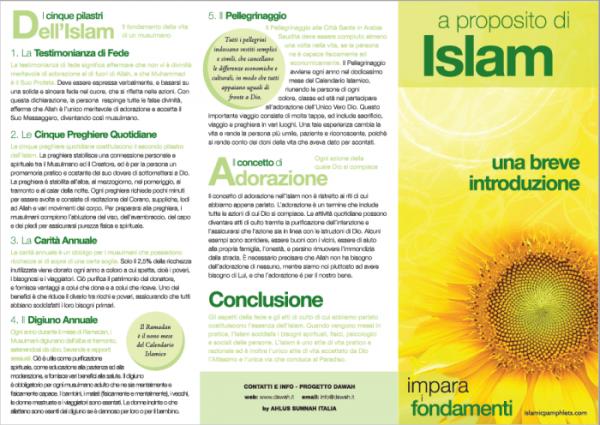 Volantino Informativo a proposito di Islam