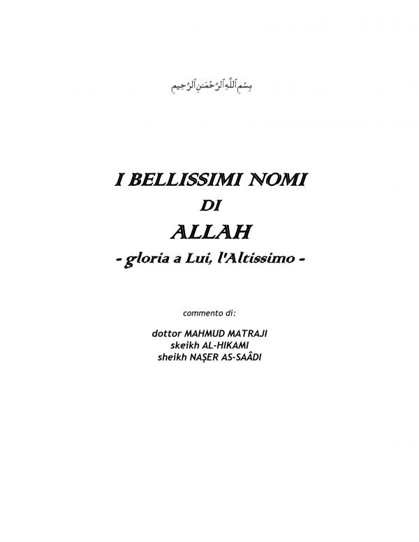 I BELLISSIMI NOMI DI ALLAH